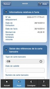 Interface de paiement de l'application mobile Amendes.gouv