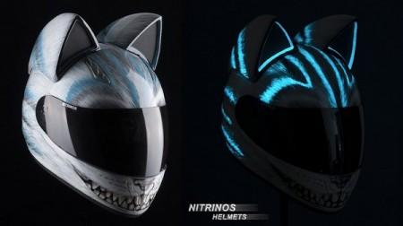Nitrinos Neko helmet casque moto tête de chat Cheshire cat