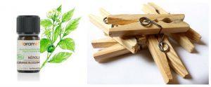 Huile essentielle, pince à linge en bois